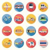 Flat icons set : Thailand Transportation, Trips & Travel