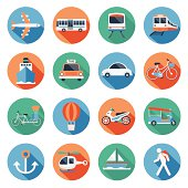 Flat icons set : Transportation, Trips & Travel