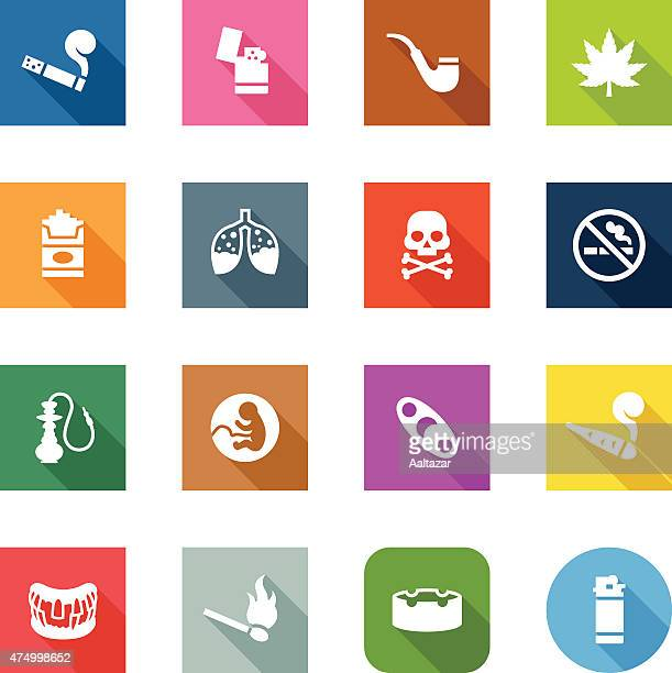 ilustraciones, imágenes clip art, dibujos animados e iconos de stock de iconos plana-para fumadores - cigarrillo