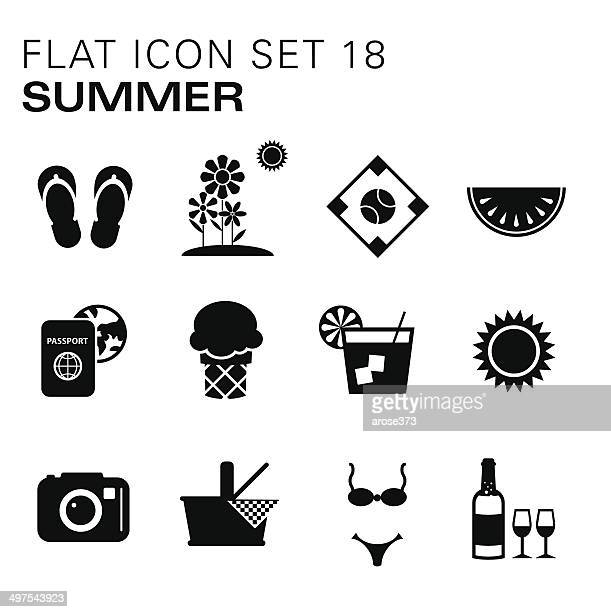 flat icons summer - sandal stock illustrations, clip art, cartoons, & icons