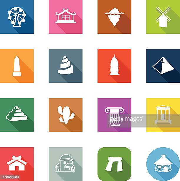 flat icons - travel - megalith stock illustrations, clip art, cartoons, & icons