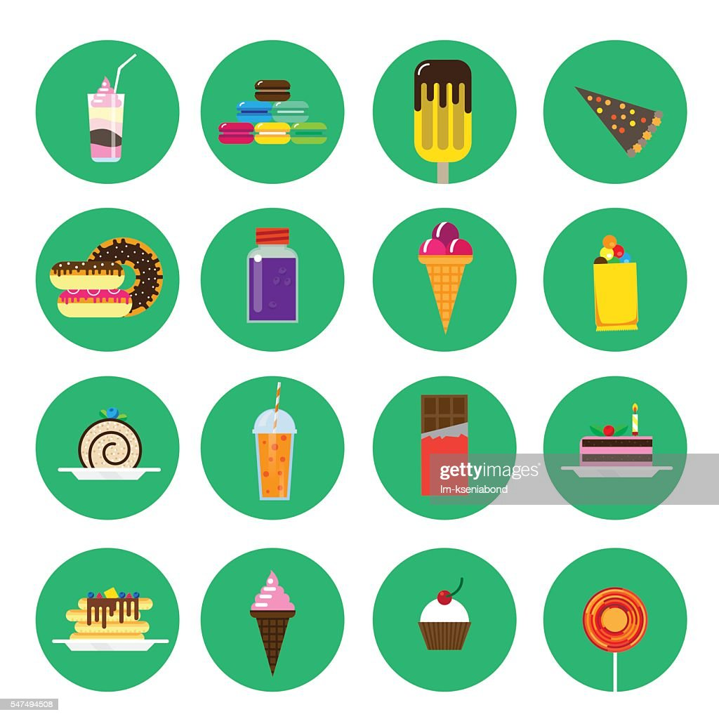 Flat icons with sweets