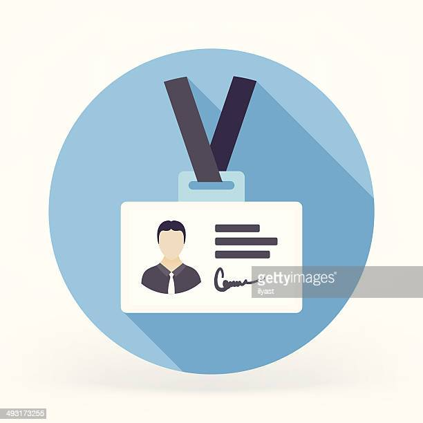 flat id card icon - cardkey stock illustrations, clip art, cartoons, & icons