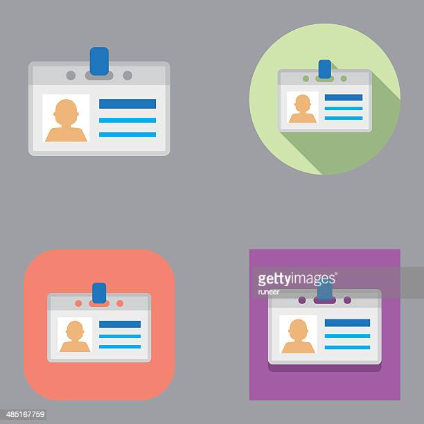 flat id card icons | kalaful series - identity card stock illustrations