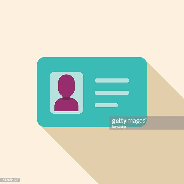 flat identification card icon - cardkey stock illustrations, clip art, cartoons, & icons