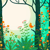 Flat illustration of a forest landscape with birds