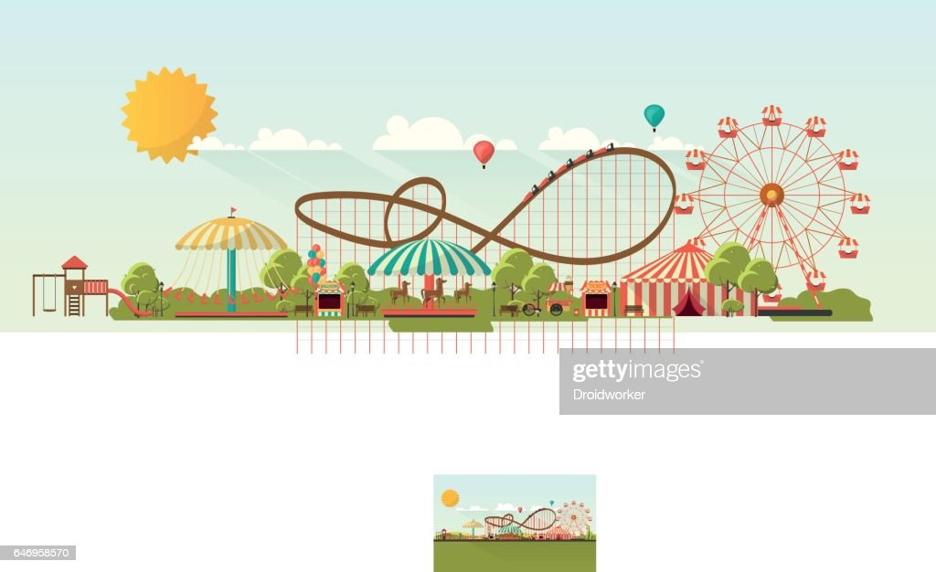 Flat illustration of amusement park at daytime illustration
