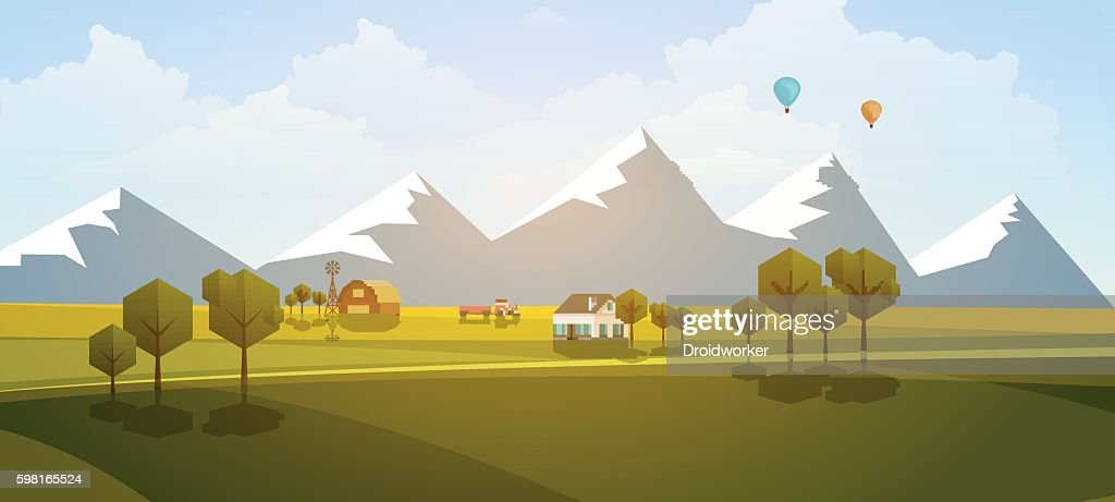 Flat Illustration of countryside, rural landscape, Vector Design.