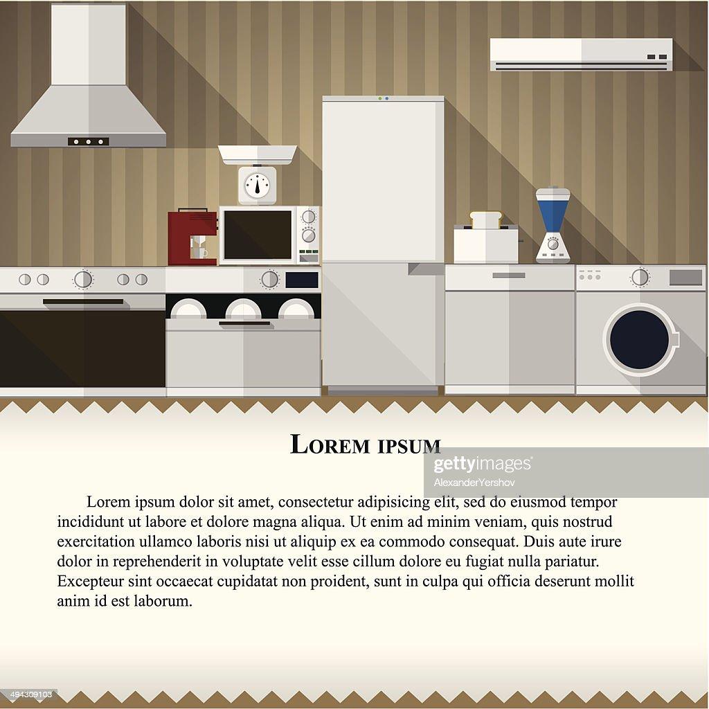 Flat illustration of kitchen