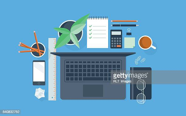 flat illustration of neatly organized workspace - looking down stock illustrations, clip art, cartoons, & icons
