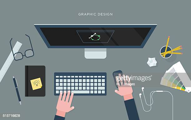 Flat illustration of person at desk with computer, graphic design