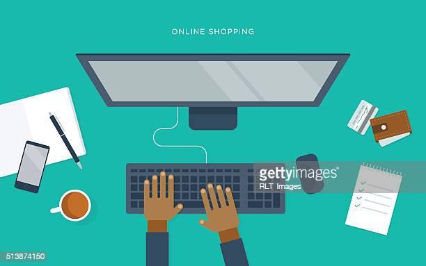 ilustraciones, imágenes clip art, dibujos animados e iconos de stock de plano ilustración de la persona en escritorio, con computadora, en línea de compras - teclado de ordenador