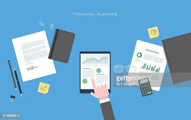 Flat illustration of person at desk with tablet, financial planning