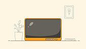 Flat illustration of TV in cartoon style. Line background illustration.