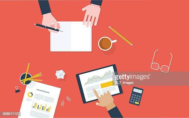 illustration de travailleurs à collaborer à la réception