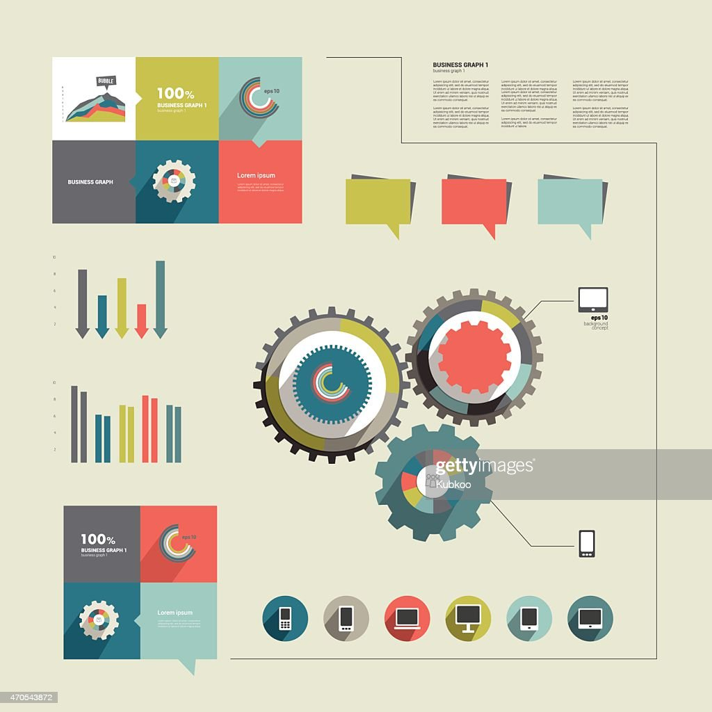 Flat info graphics elements for print or web site.
