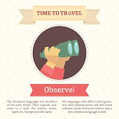 Flat infographic vector illustration of hands holding binoculars.