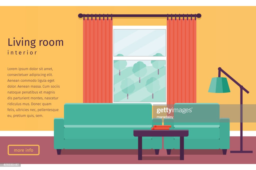 Flat interior living room. Vector background.