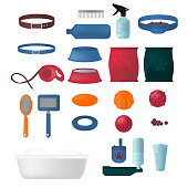 Flat isolated set of dog items elements. Pet icons walking, feeding, grooming salon equipment. Doggy tools groomer collection, healthy nutrition.