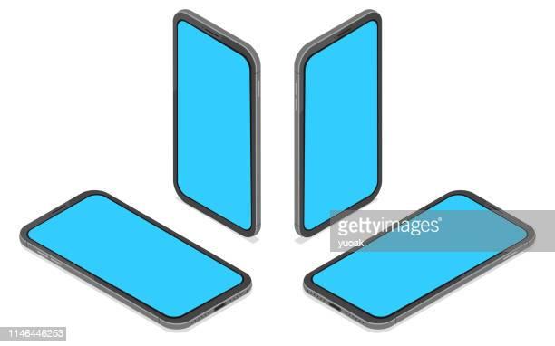 flat isometric amart phone set - retail display stock illustrations