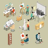 Flat isometric Art studio or workshop with furniture, equipment and Graphic designer Sculptor photograph characters at working place vector illustration set. 3d isometry creative person concept.