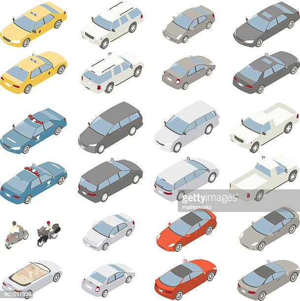 flat isometric cars - yellow taxi stock illustrations, clip art, cartoons, & icons