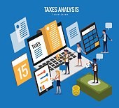 flat isometric design of taxes concept.