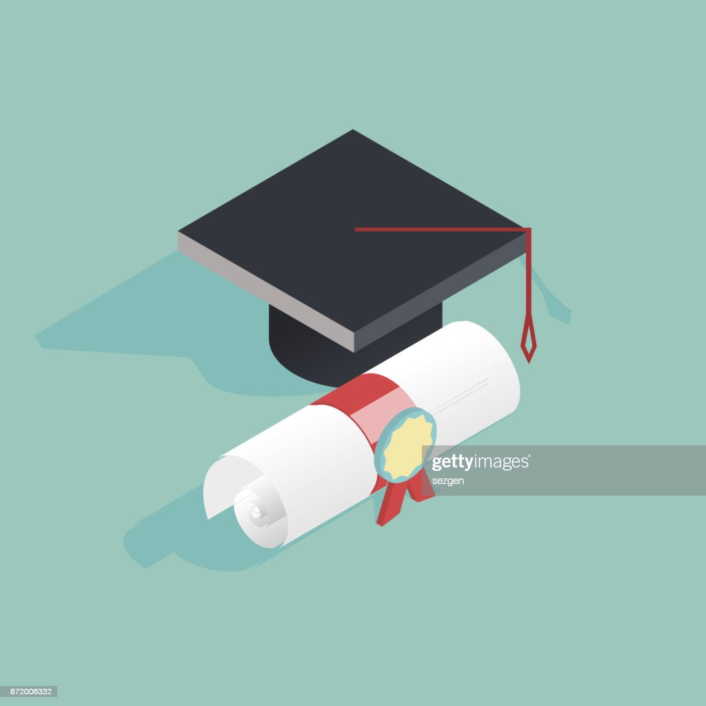 Flat isometric education vector illustration with graduate cap