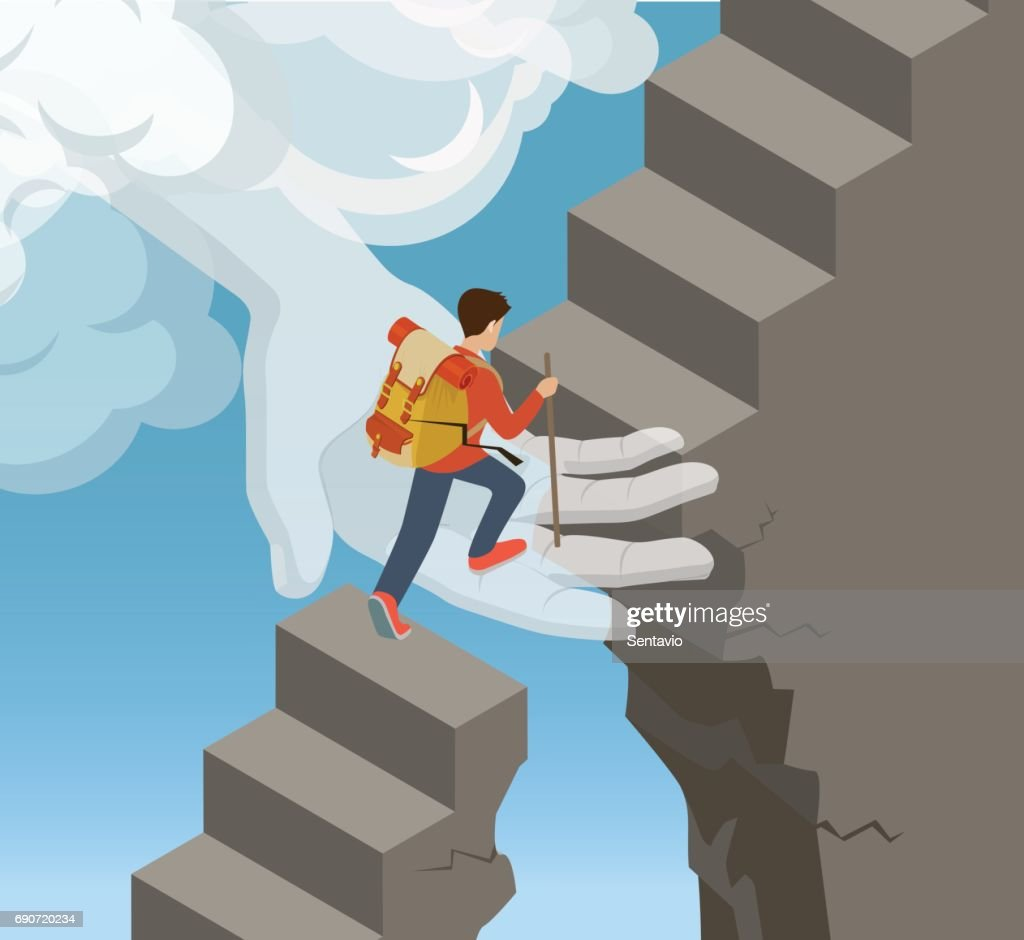 Flat isometric Hand from cloud supporting rock climber on stone ladder vector illustration. 3d isometry God help and support concept.