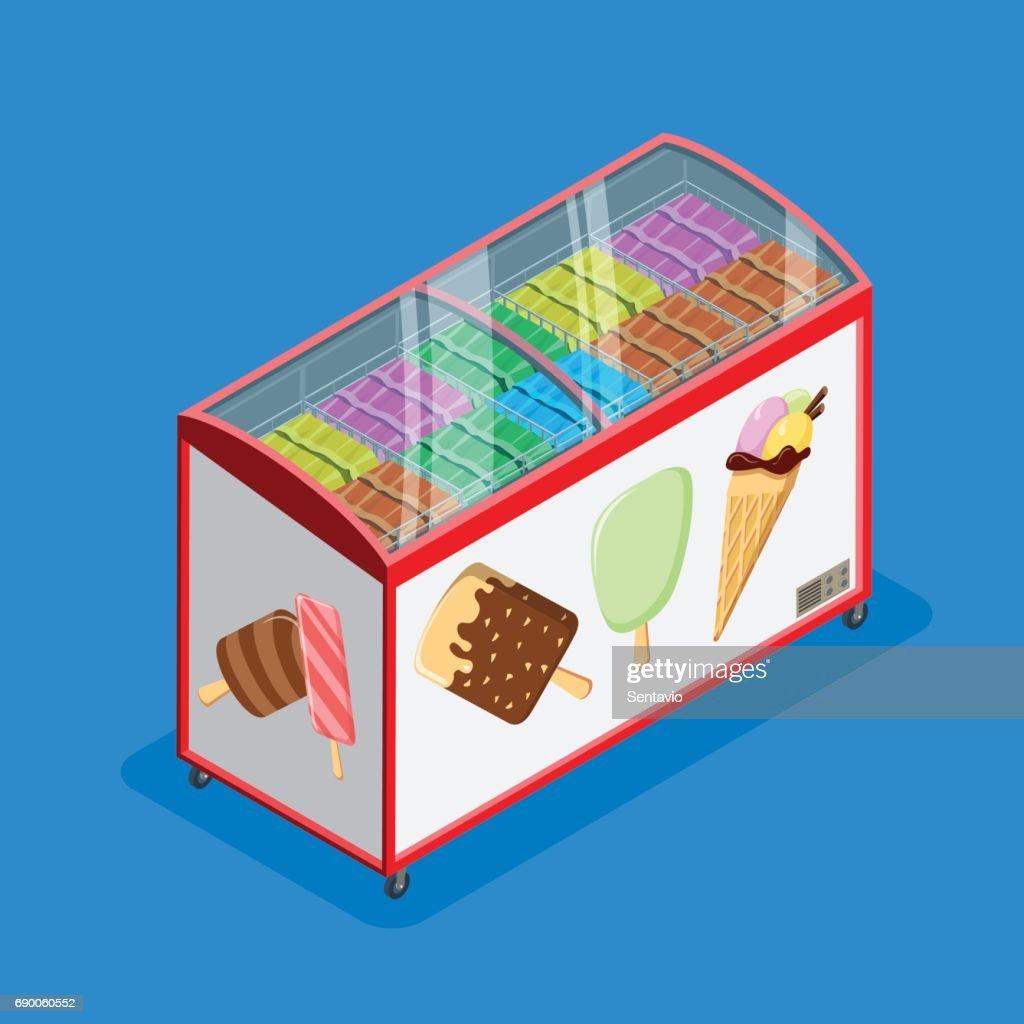Flache Isometrische Eis Und Eis Verkaufen Kühlschrank ...