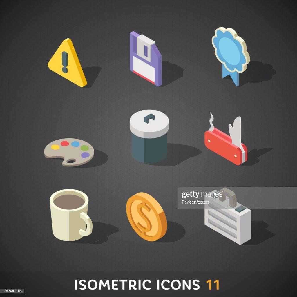 Flat Isometric Icons Set 11
