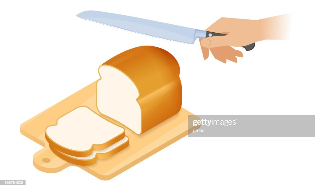 Flat isometric illustration of cutting board, loaf of bread, knife.
