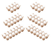 Flat isometric illustration of eggs in the different carton boxes.