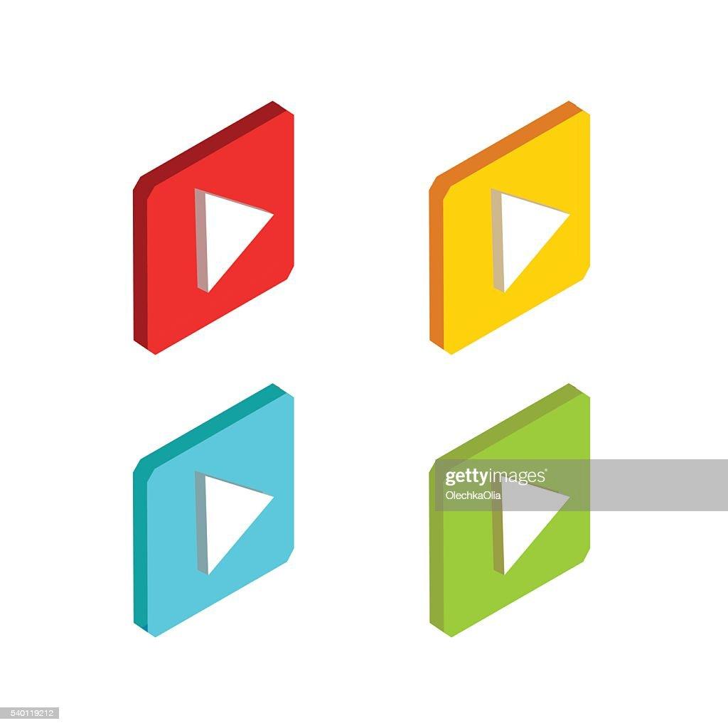 Flat Isometric Media Icons