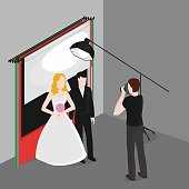 Flat isometric newlyweds photographing . Bride and groom in photo studio. Occupation of wedding photographer.