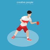 Flat isometric Ping Pong Athlete vector illustration. Table Tennis sportsman 3d isometry image. Summer . games concept.