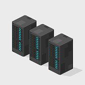 Flat Isometric Servers Computer Hardware Network Vector Icon