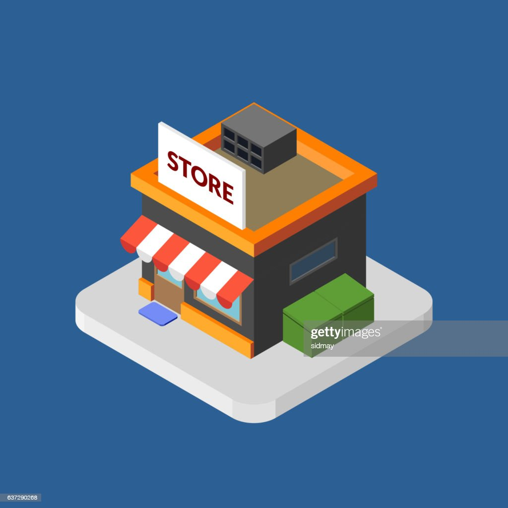 Flat isometric store, isolated vector icon