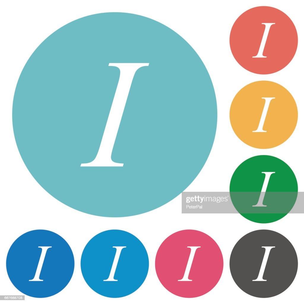 Flat italic font icons