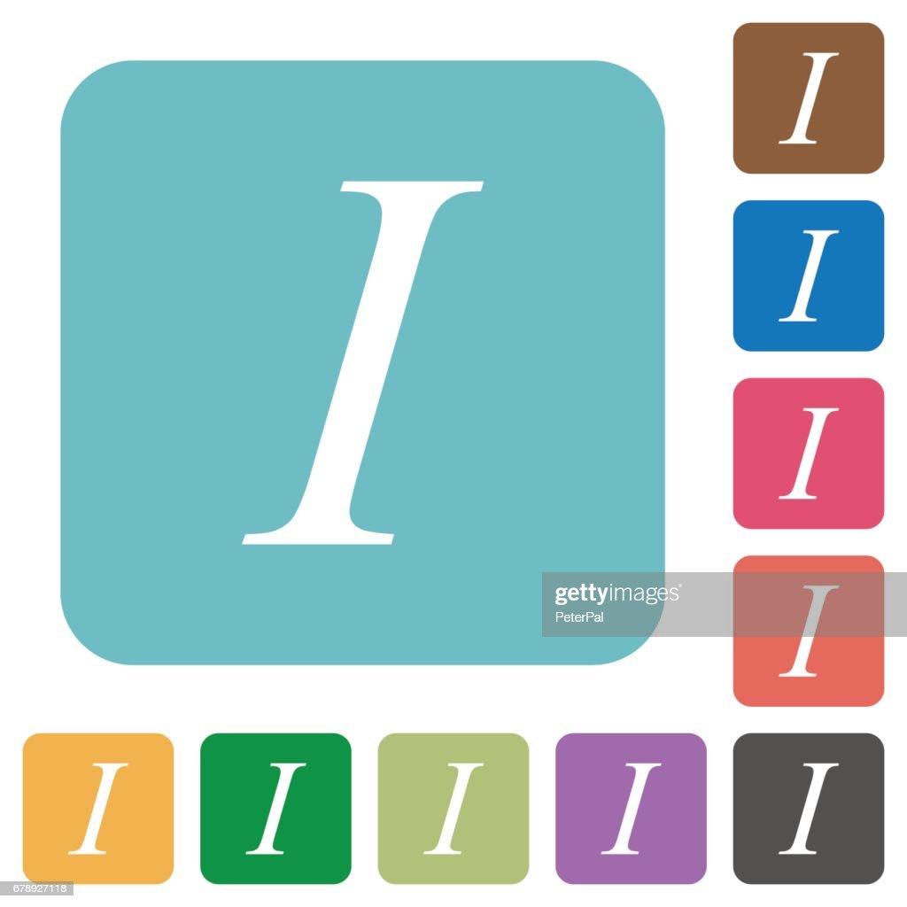 Flat Italic font type icons