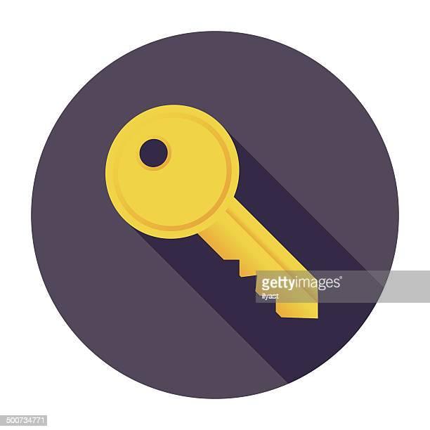 ilustrações, clipart, desenhos animados e ícones de chave plana ícone - chave