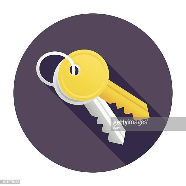 ilustrações, clipart, desenhos animados e ícones de chaves ícone plana - chave
