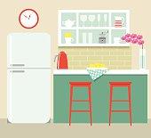 flat kitchen retro