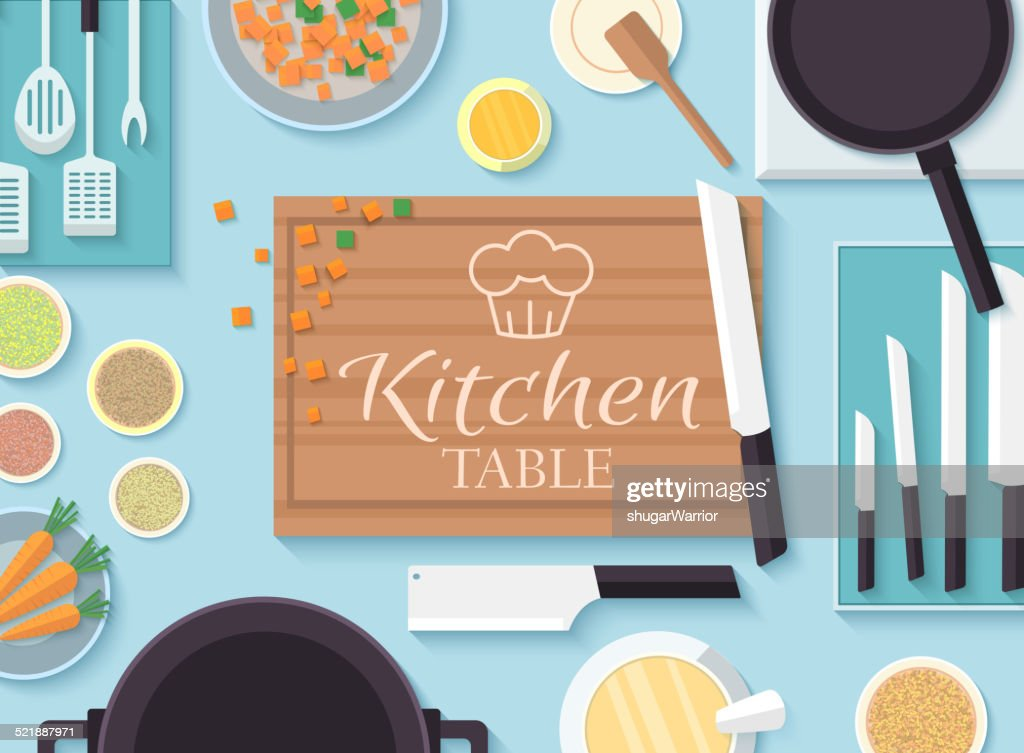 flat kitchen table for cooking in house vector illustration
