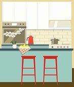 flat kitchen. vector illustration