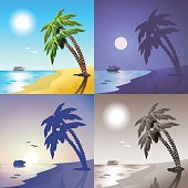 Flat landscape sea cruise ship palm beach summer tropic island travel scene set. Stylish web banner nature outdoor collection. Daylight, night moonlight, sunset view, retro vintage picture sepia.