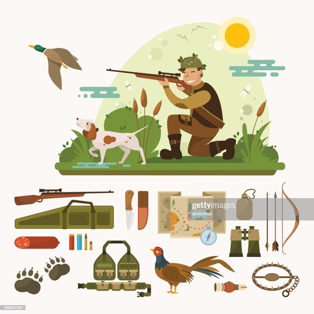 Flat landscape with hunter and dog. Vector hunting icons set