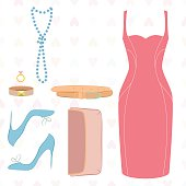 Flat lay of dress, shoes, clutch, belt ascessories