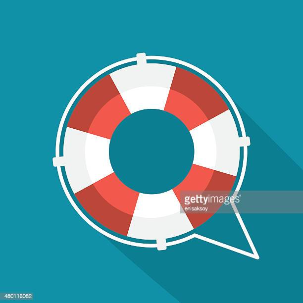 flat lifebuoy icon - lifeguard stock illustrations
