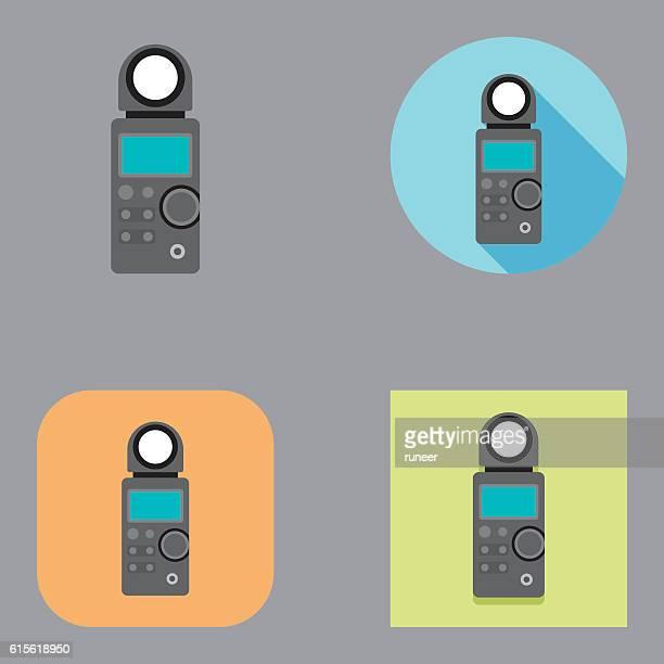 flat light meter icons   kalaful series - light meter stock illustrations, clip art, cartoons, & icons